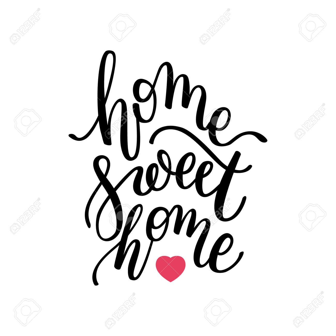 picture about Home Sweet Home Printable identified as house Cute property hand lettering. Template for card, poster, print.