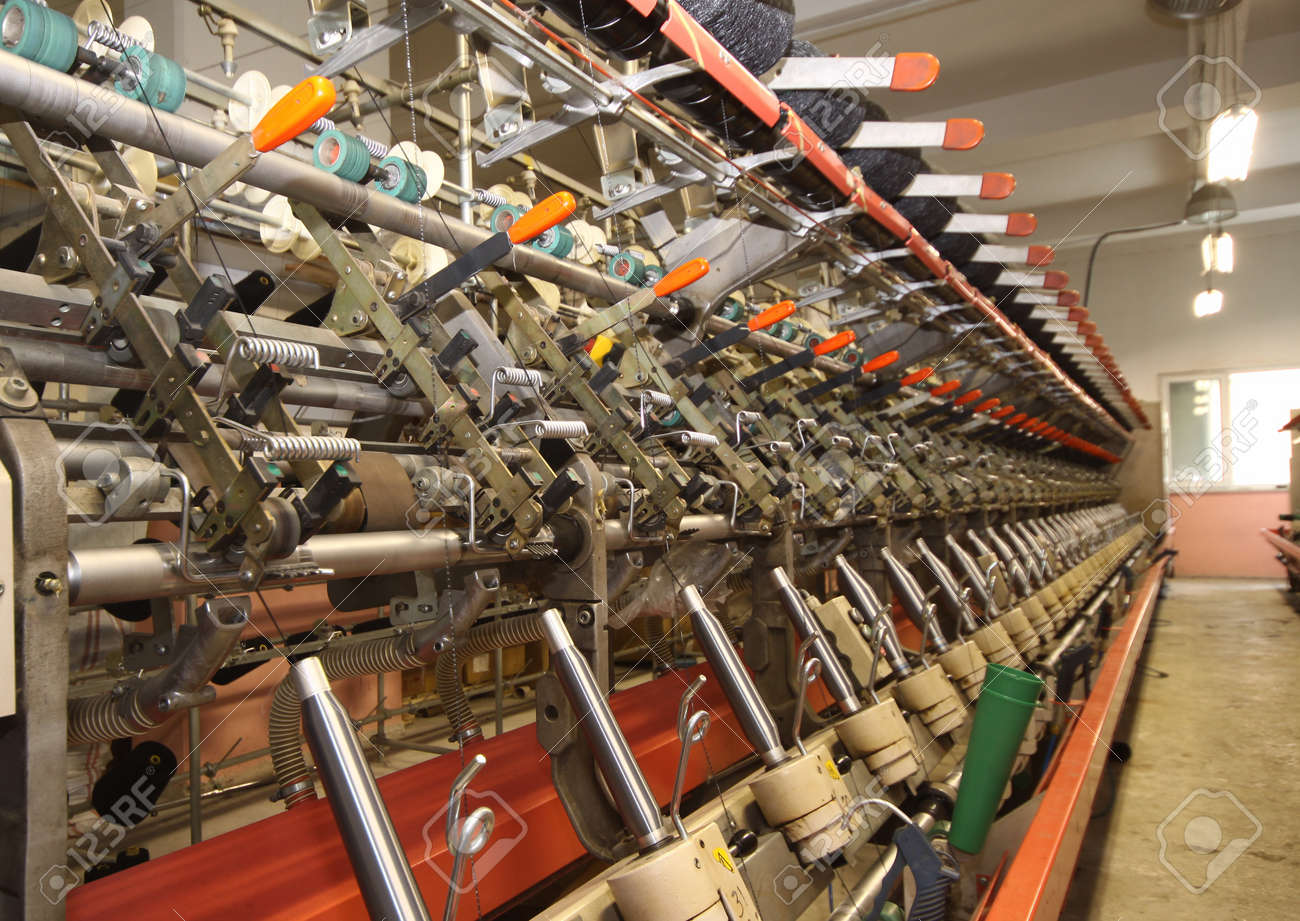 Textile industry  denim  - Weaving and warping Stock Photo - 16780377