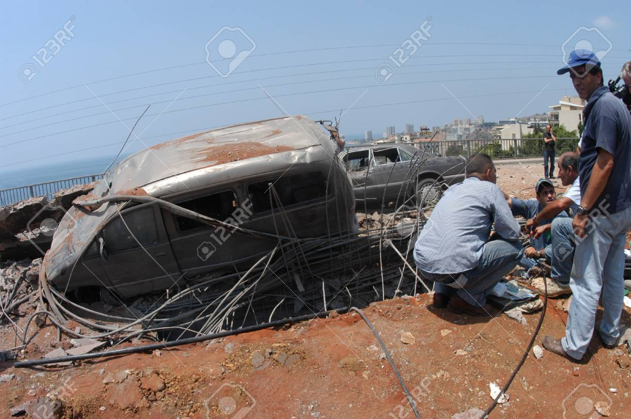 Beirut, Lebanon-August 4, 2006: A bridge damaged by Israeli bombings in 2006, overlooking a highway south of Beirut on August 4, 2006, Beirut,Lebanon.                               Stock Photo - 17392761