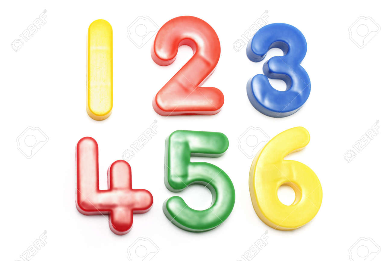 Plastic Numbers on White Background Stock Photo - 2900115