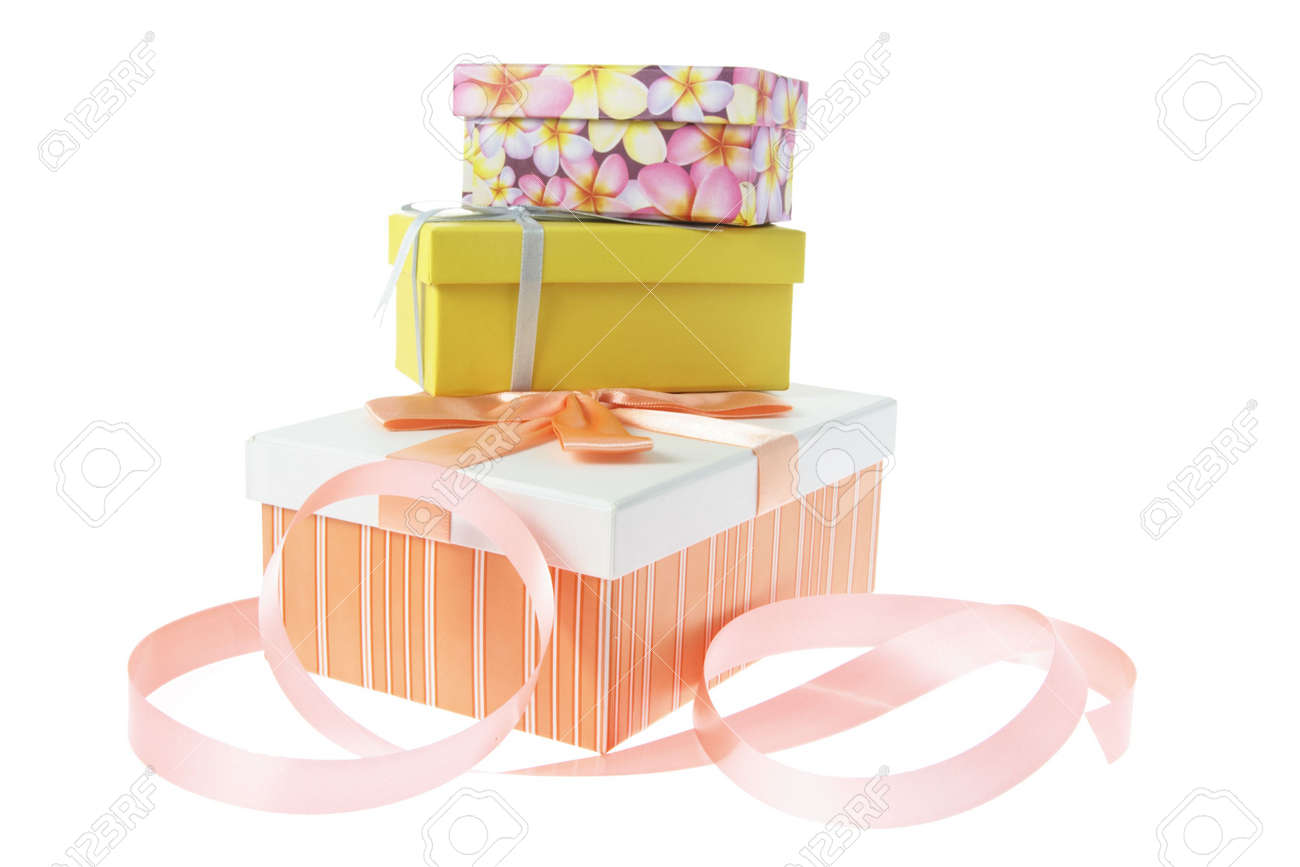 Gift Boxes with Ribbon on White Background Stock Photo - 3534294