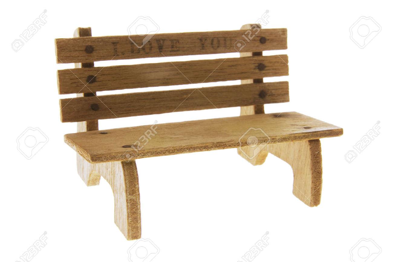 Fantastic Miniature Wooden Bench On Isolated White Background Short Links Chair Design For Home Short Linksinfo
