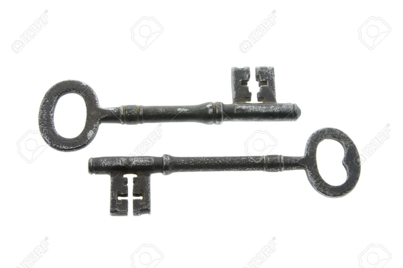 Two Skeleton Keys on White Background Stock Photo - 3533734