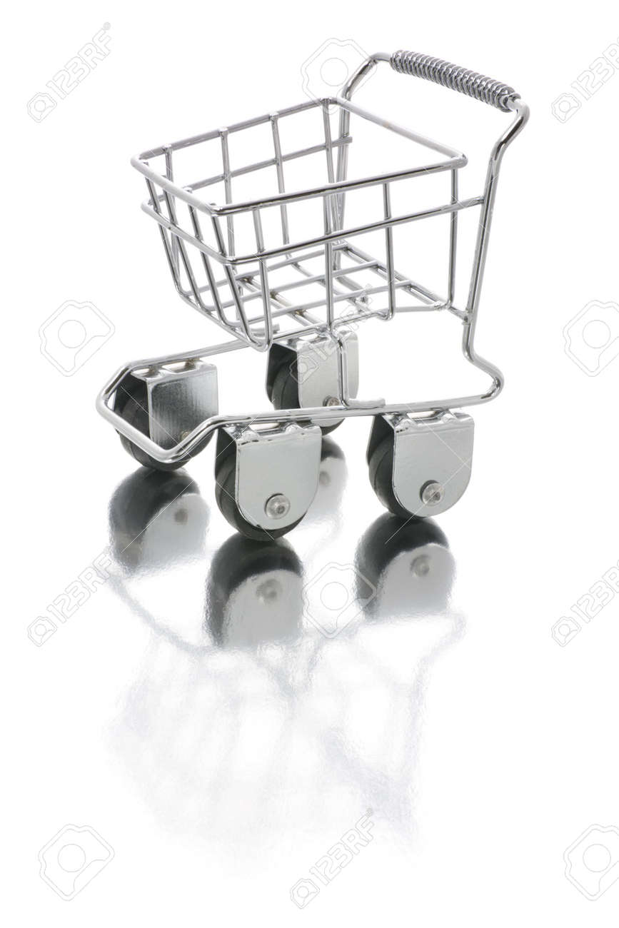 Miniature Shopping Trolley with Reflection on White Background Stock Photo - 3532716