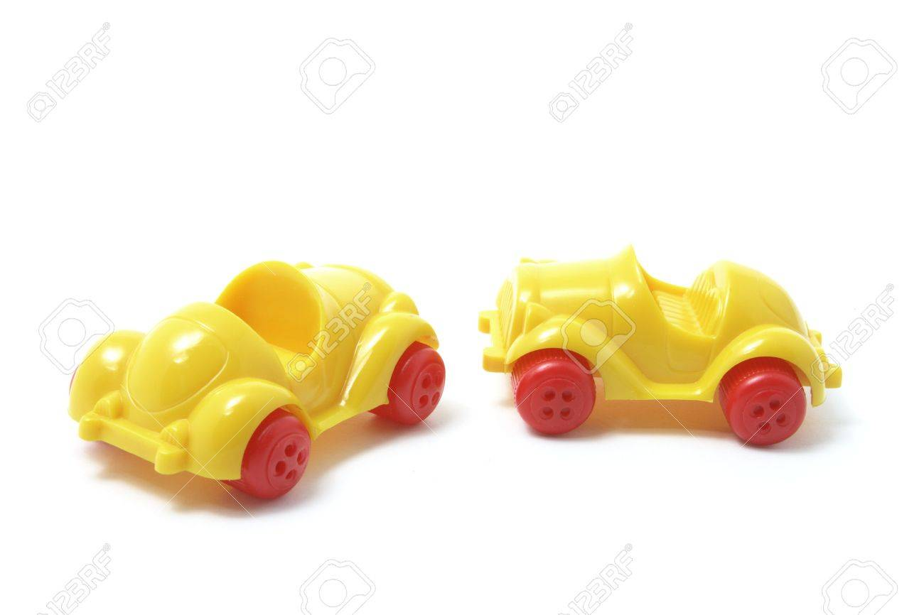 Plastic Toy Cars on White Background Stock Photo - 3533639