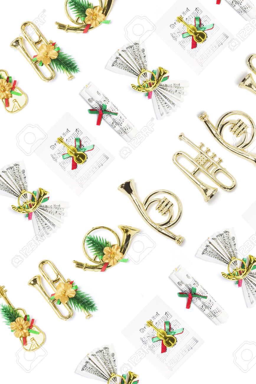 Miniature ornaments - Background Of Christmas Miniature Ornaments Stock Photo 3716018