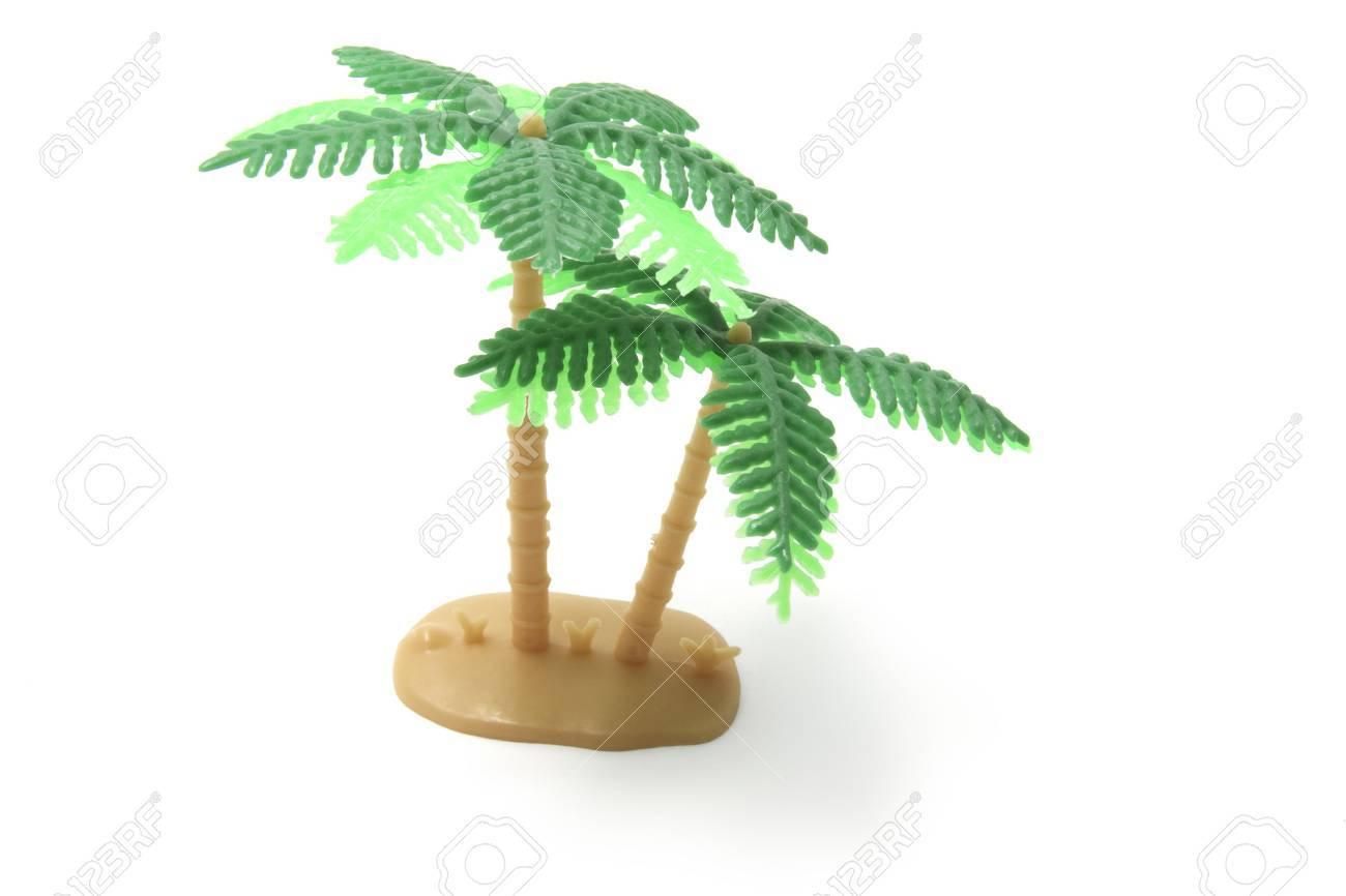 Miniature Plastic Palm Tree on White Background Stock Photo - 3715134