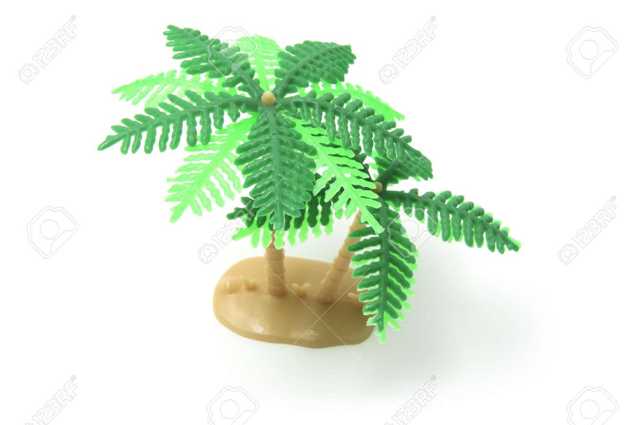 Miniature Plastic Palm Tree on White Background Stock Photo - 3750960
