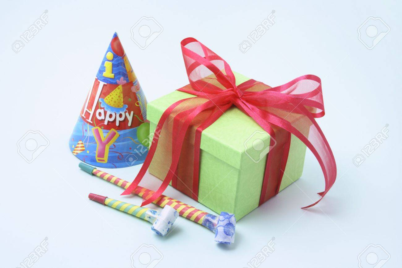 Gift Box and Party Novelties on Blue Background Stock Photo - 3870411