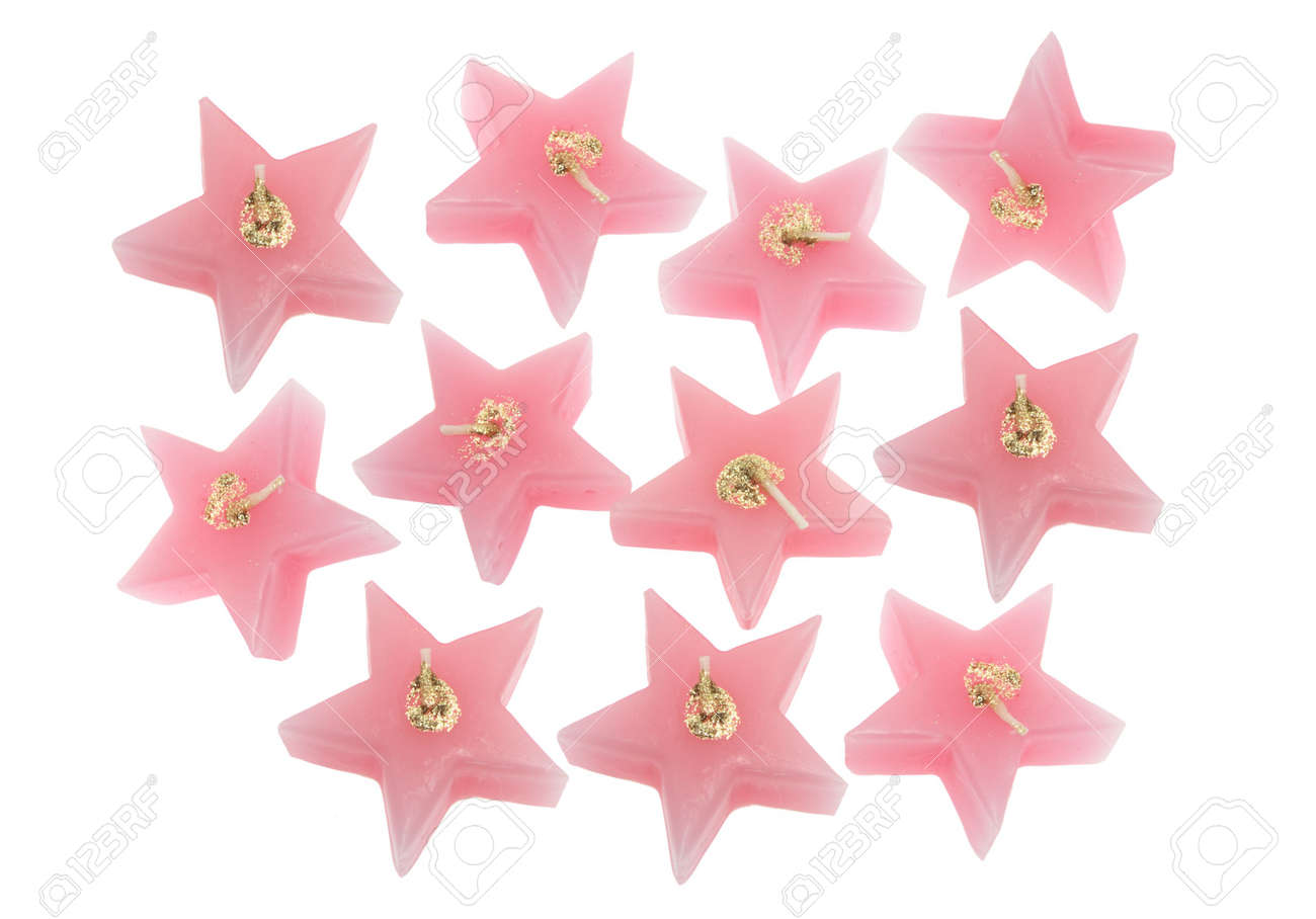 Star-Shaped Scented Candles on White Background Stock Photo - 4600290