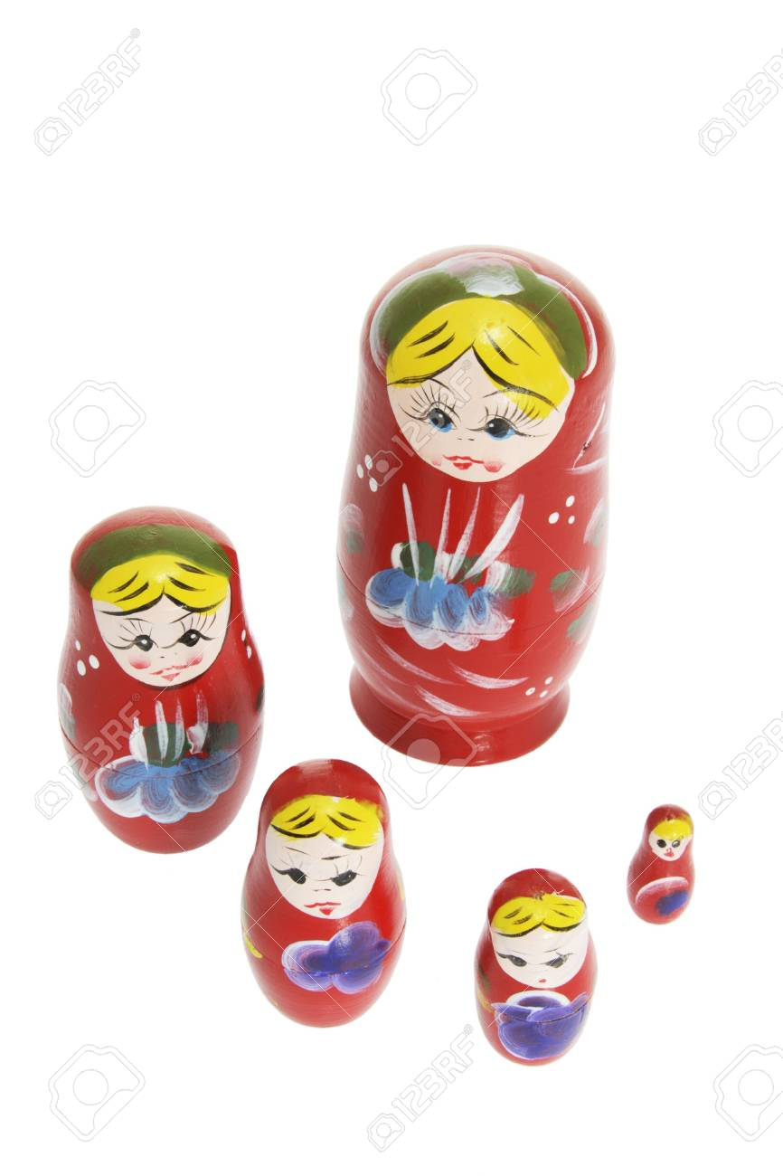 Russian Nesting Dolls on White Background Stock Photo - 4746550