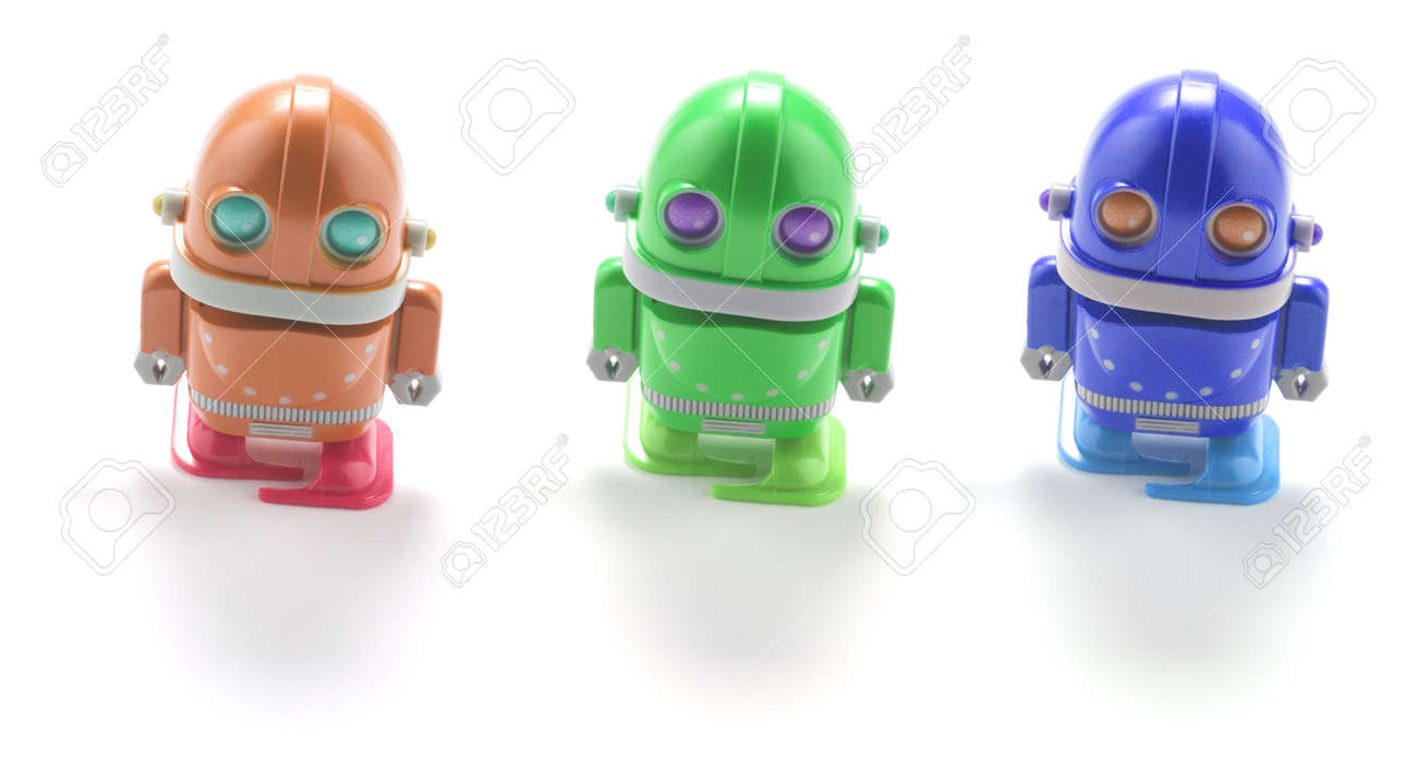 Toy Robots on White Background Stock Photo - 4990401