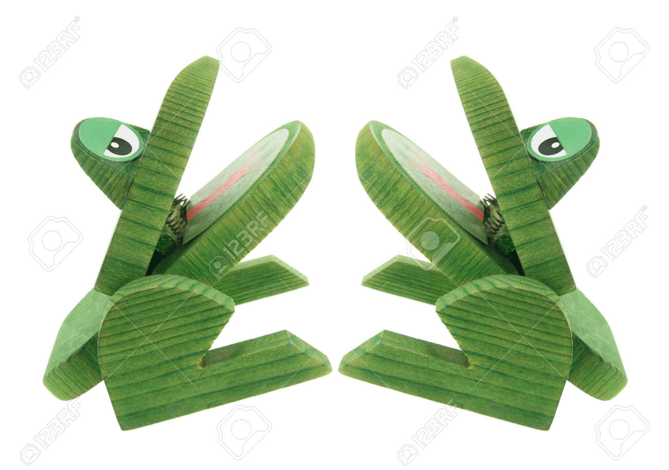 Wooden Frogs on Isolated White Background Stock Photo - 6627472