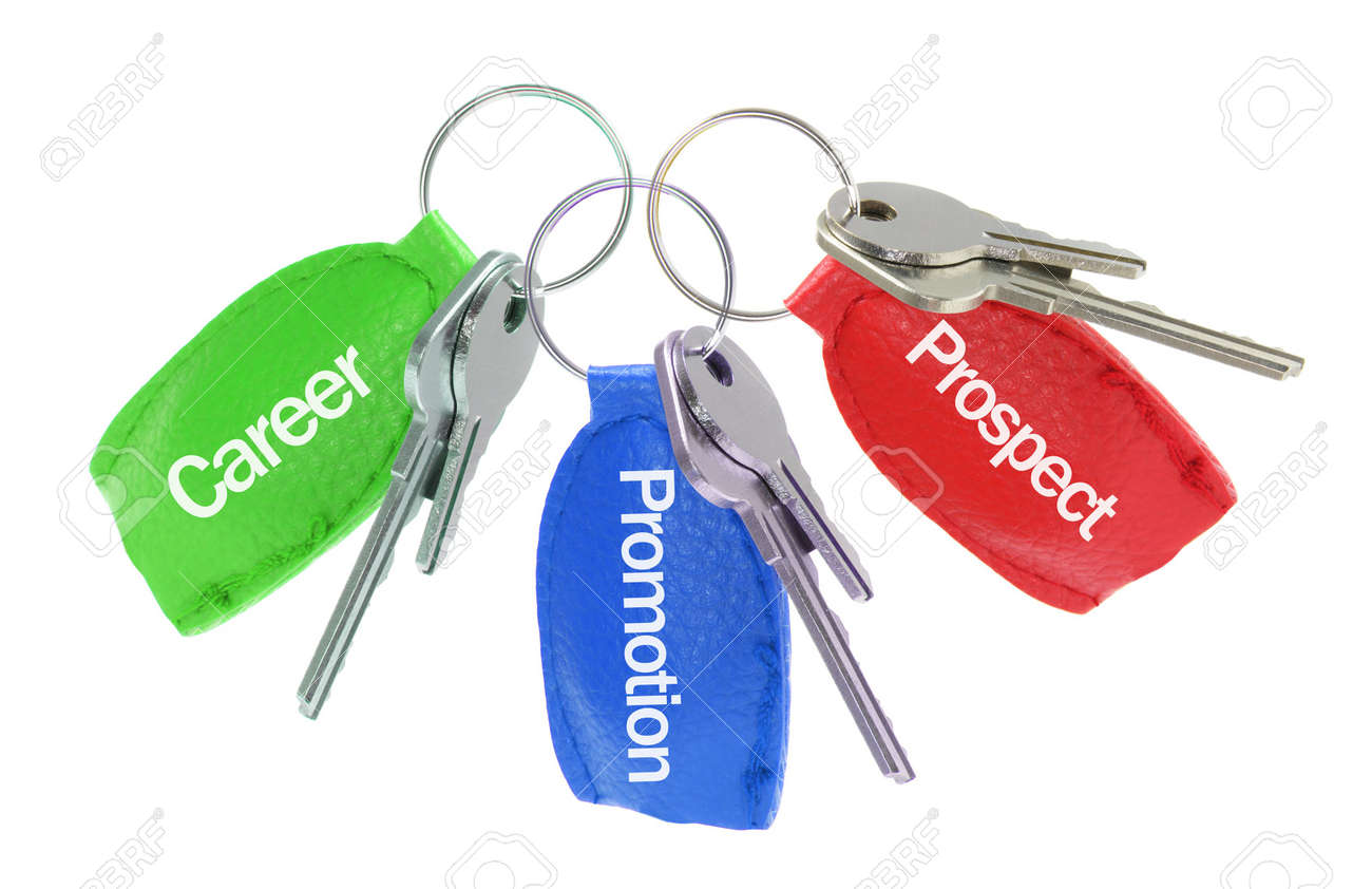 Keys with Leather Tag on White Background Stock Photo - 6754173