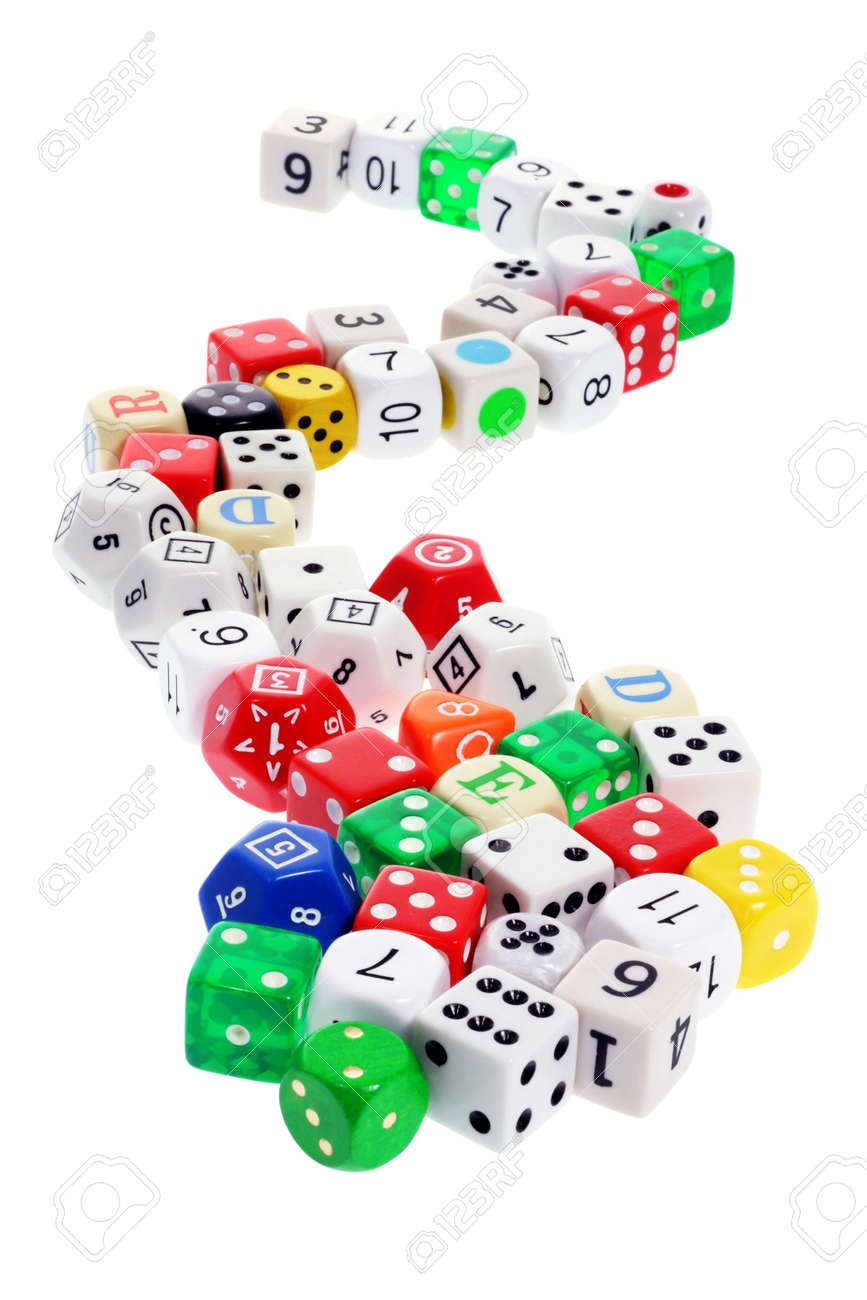 Collection of Dice on White Background Stock Photo - 6784626