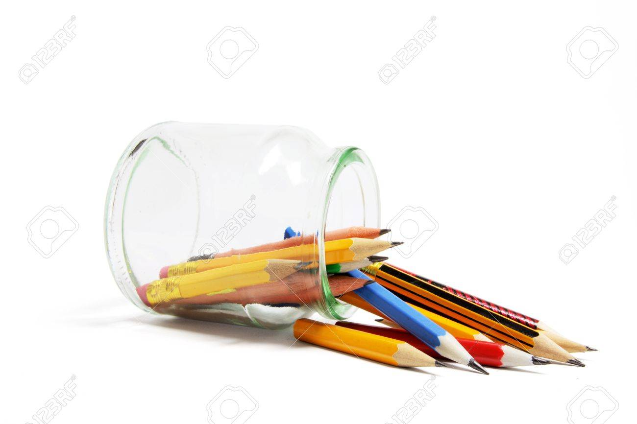 Pencils and Glass Jar on White Background Stock Photo - 6971469