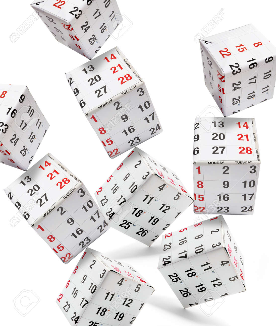Boxes with Calendar Pages on White Background Stock Photo - 8297456