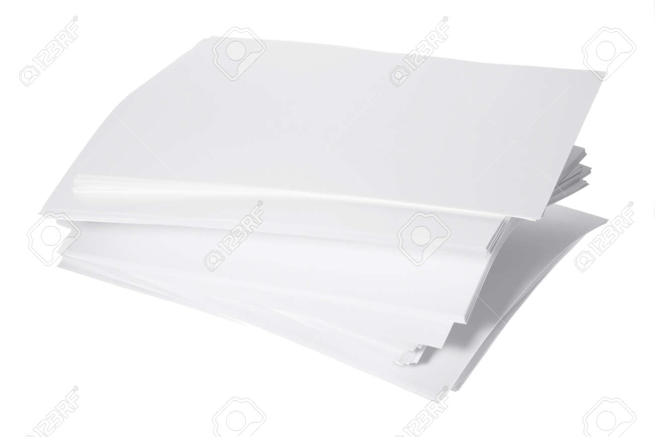 stack of paper on white background stock photo, picture and royalty