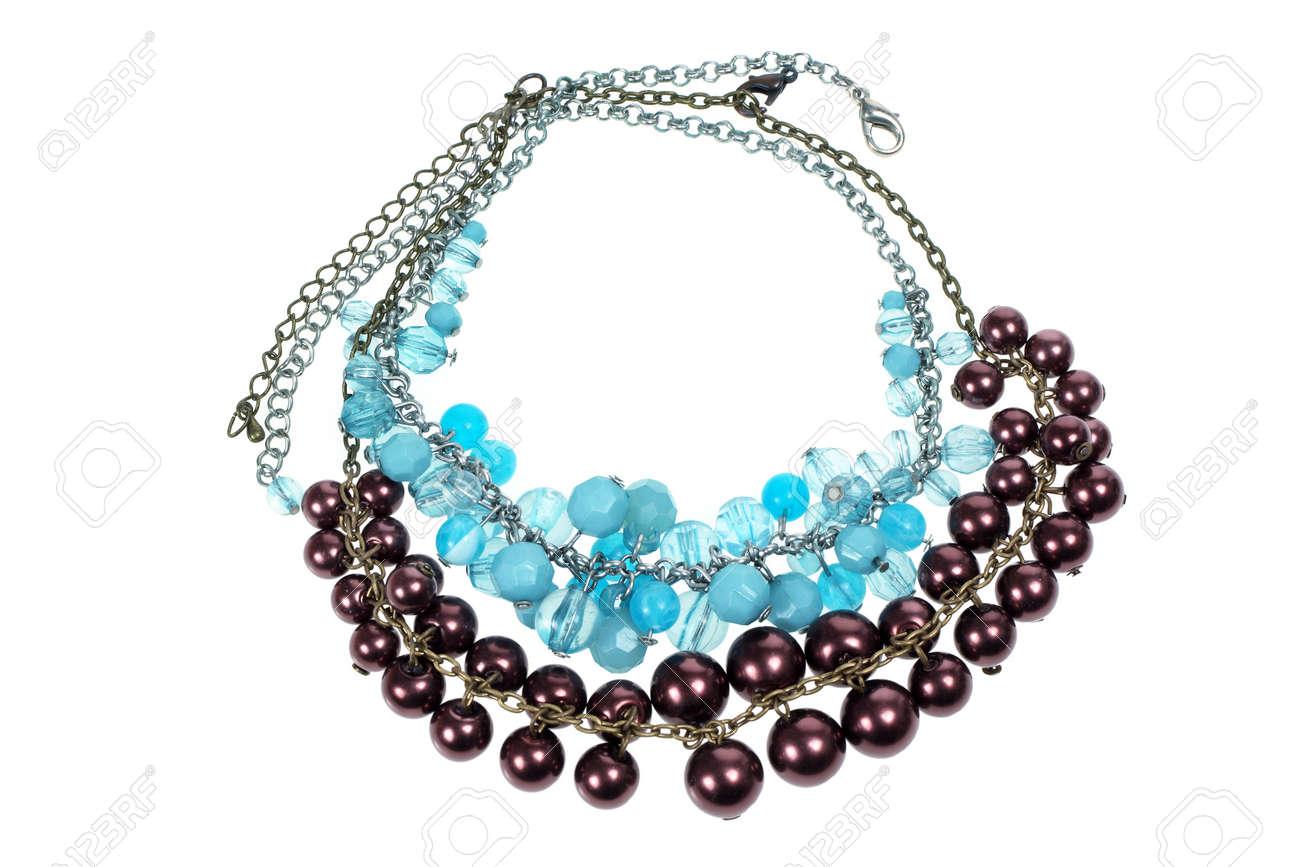 Necklaces on White Background Stock Photo - 9505099