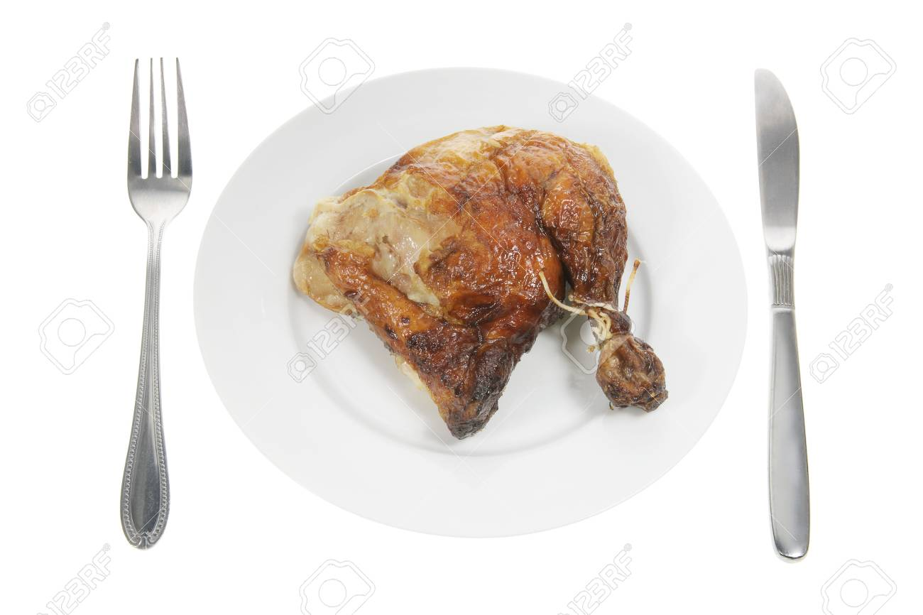 Roast Chicken on Plate with White Background Stock Photo - 9618083