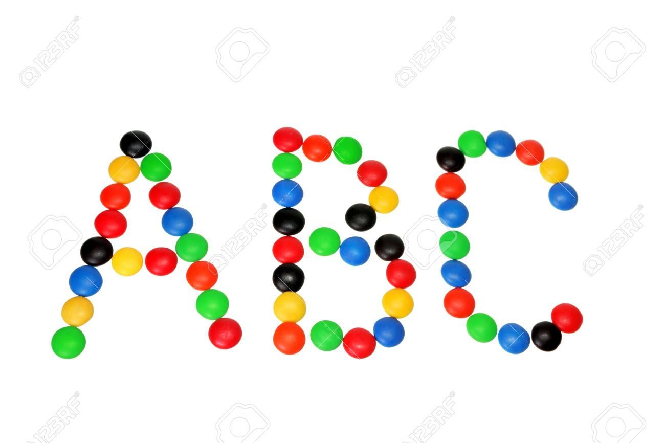 Chocolate Bean Alphabets on White Background Stock Photo - 11266000