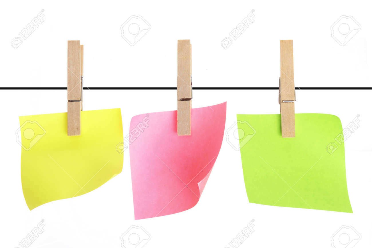 Sticky Notes with Clothes Pegs Stock Photo - 11863587
