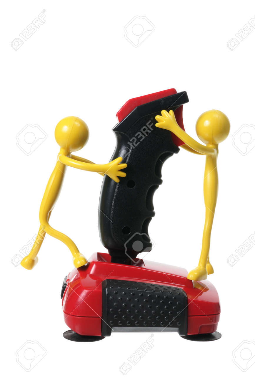 Rubber Figures and Joystick on White Background Stock Photo - 13134312