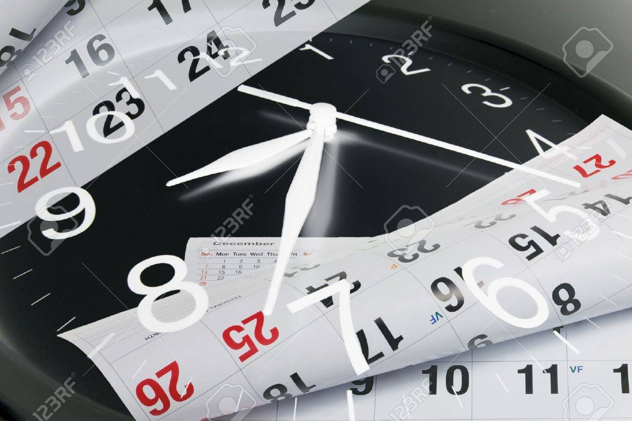 Composite Of Calendar Pages And Clock Stock Photo, Picture And ...