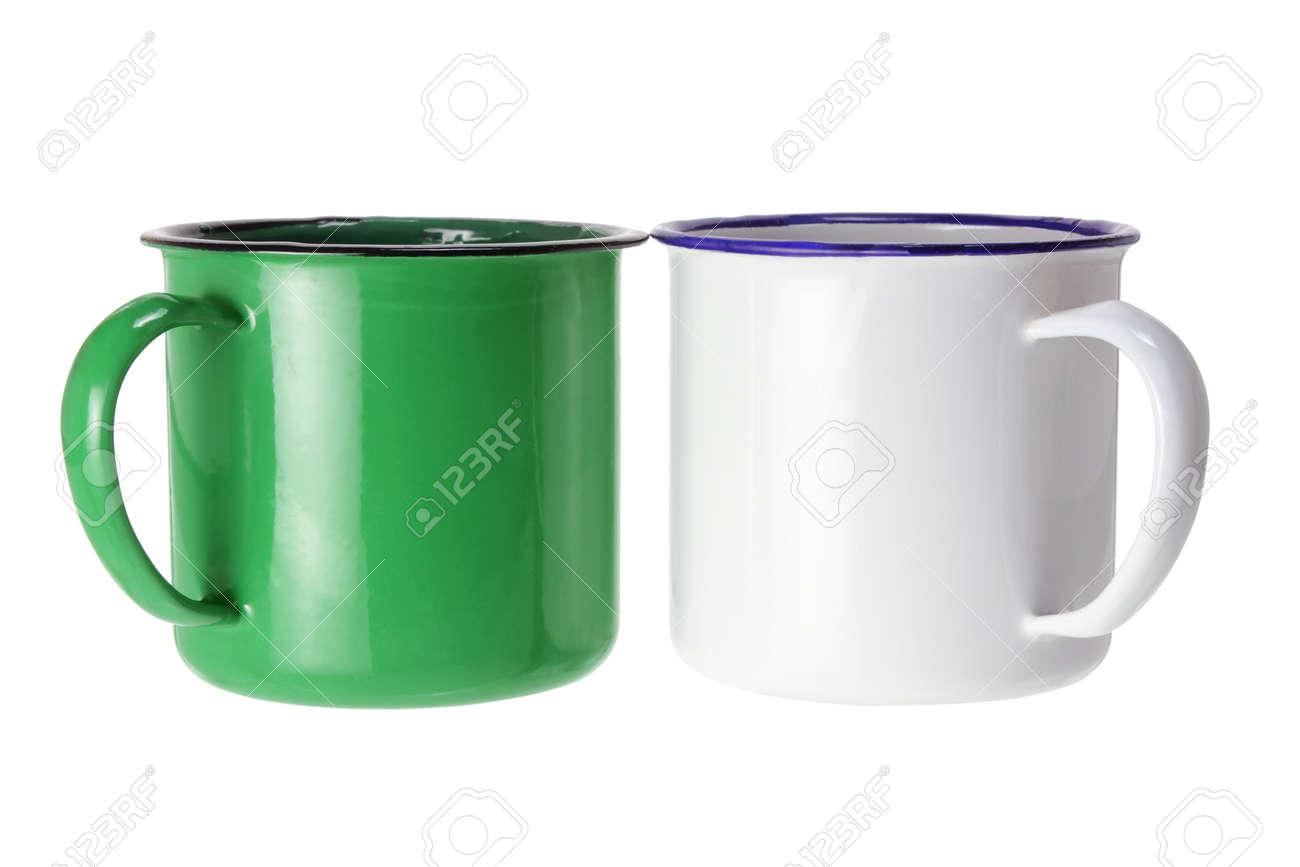 Tin Cups on White Background Stock Photo - 14641692