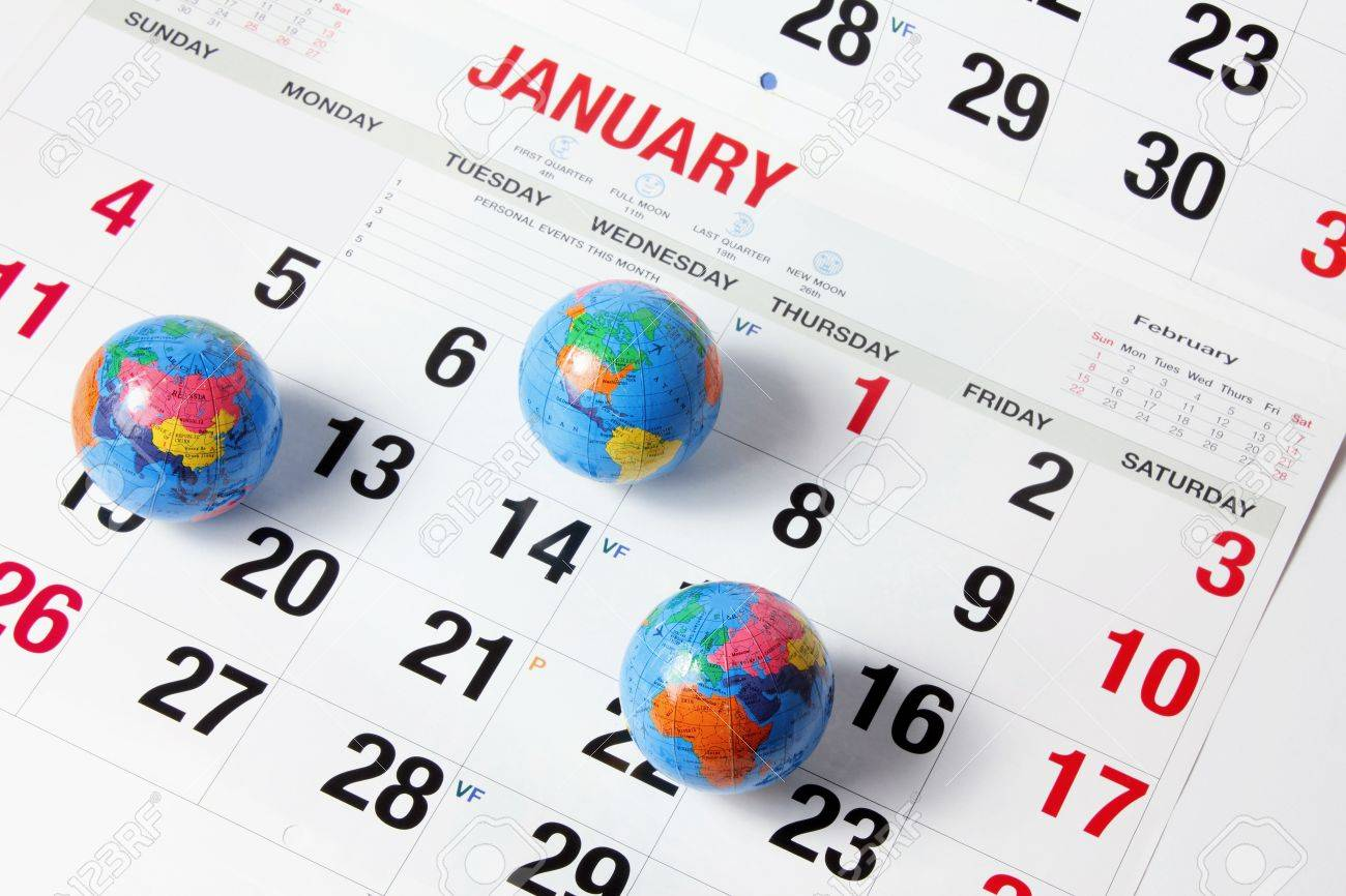 World Globes On Calendar Pages Stock Photo, Picture And Royalty ...