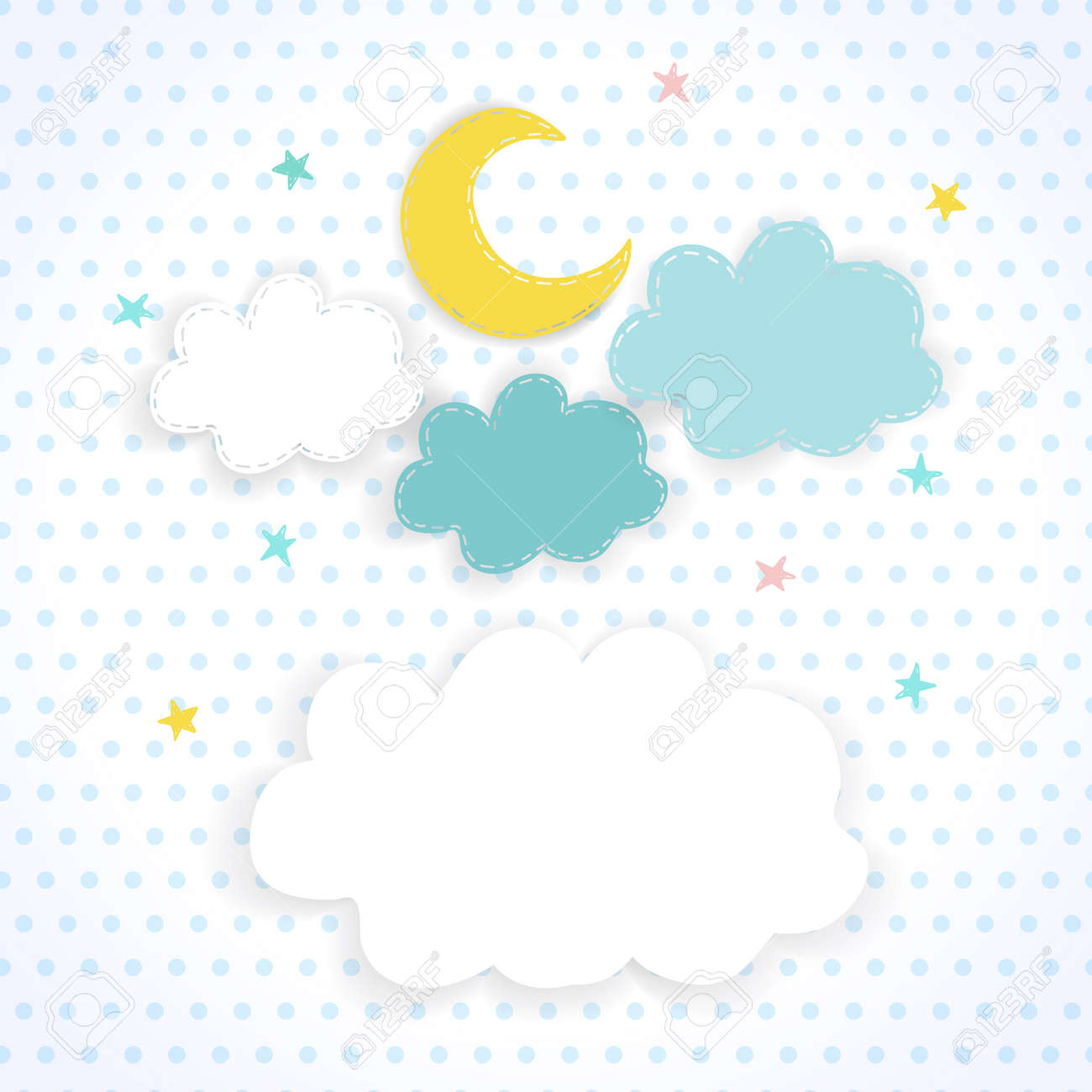Mond Wolken Und Sterne Auf Dem Hintergrund Stoff Mit Punkten