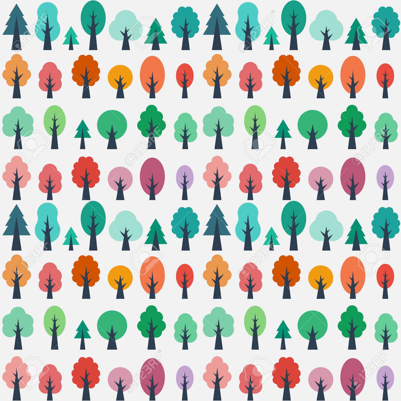 Modelo Inconsútil Con Los árboles De Color De Dibujos Animados