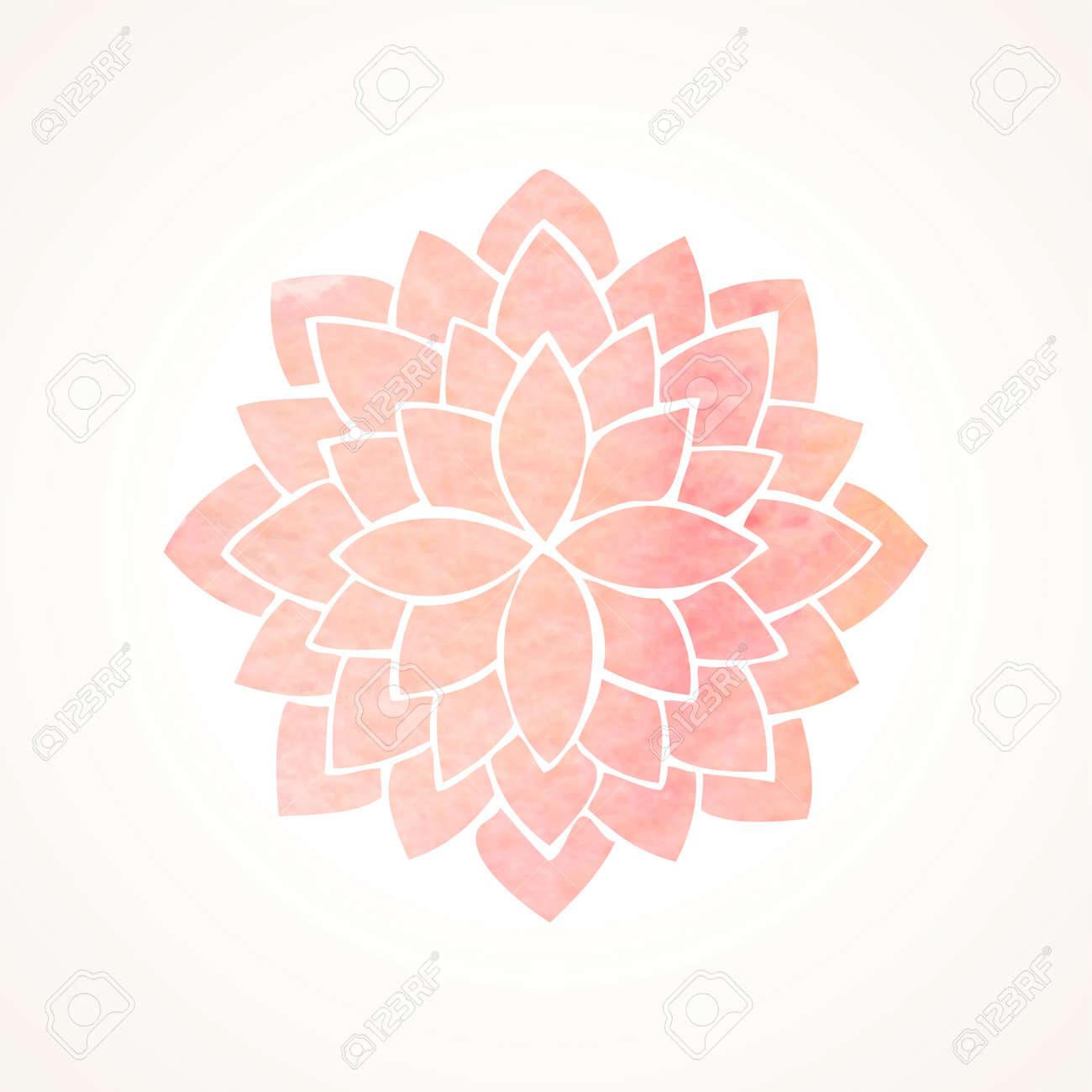 Acuarela De Loto Rosa. Mandala. Indian Elemento Círculo Oriental ...