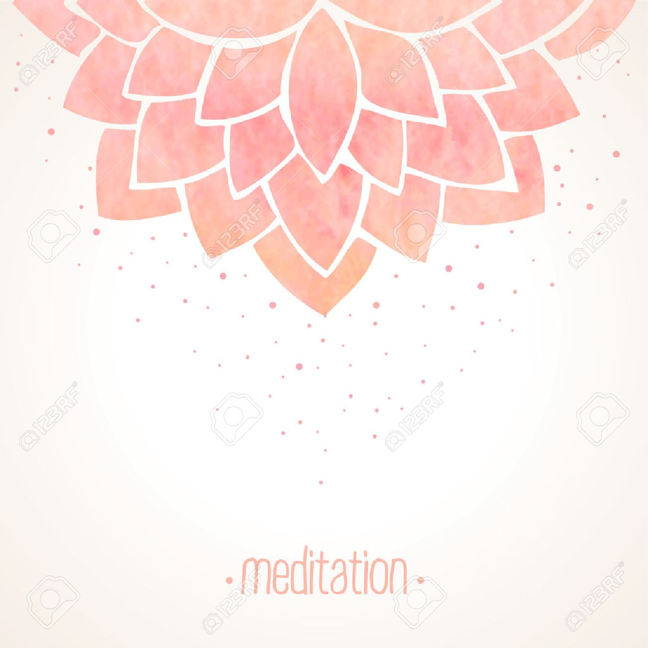 Watercolor Pink Lotus Flower Hand Drawing Floral Ornament On White