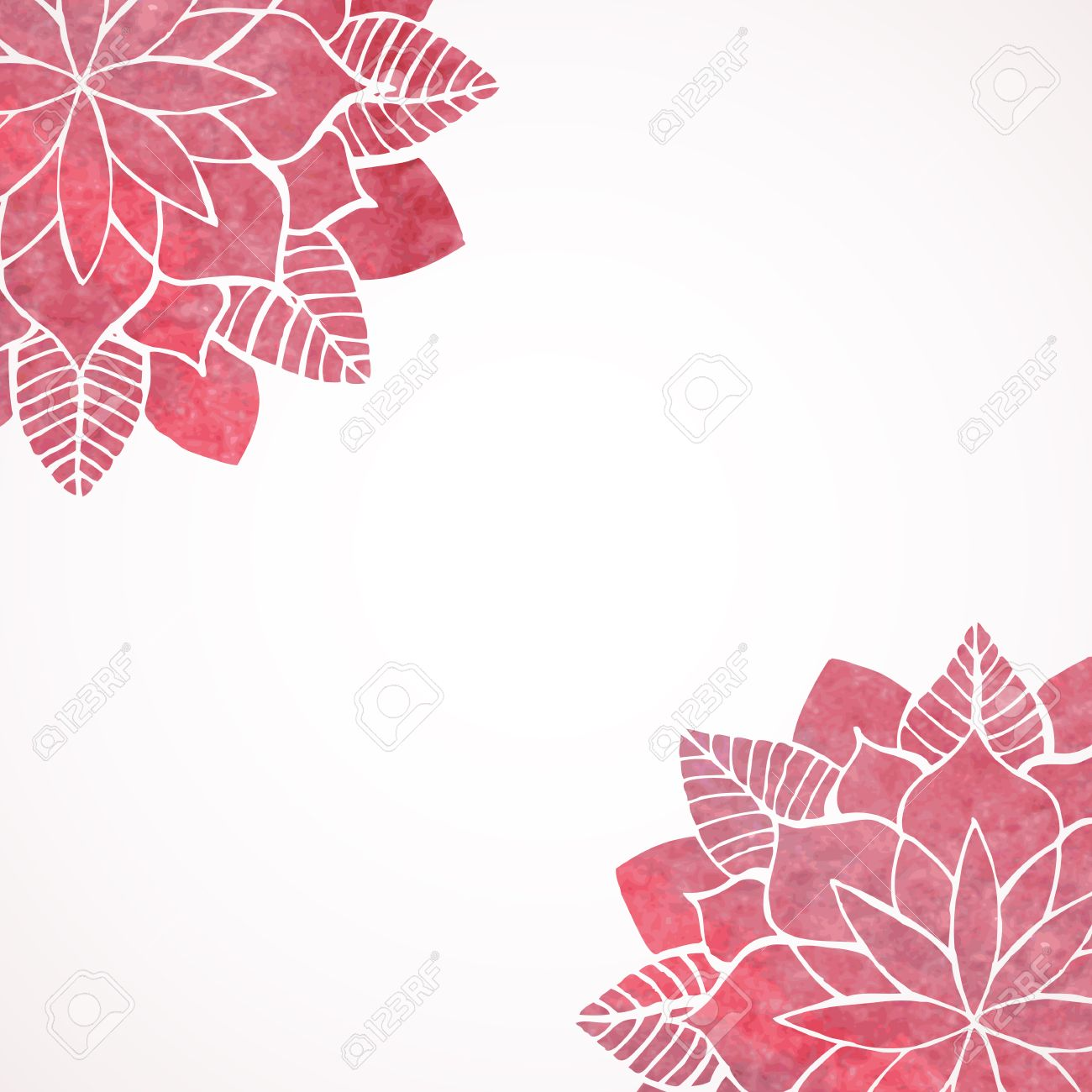 Watercolor Pink Lace Floral Patterns On White Background Geometric