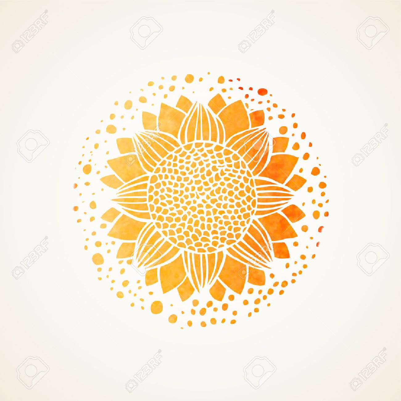 Watercolor sunny mandala. Stylized sunflower. Element for design. Lace yellow pattern on white background. Vector illustration - 41985839