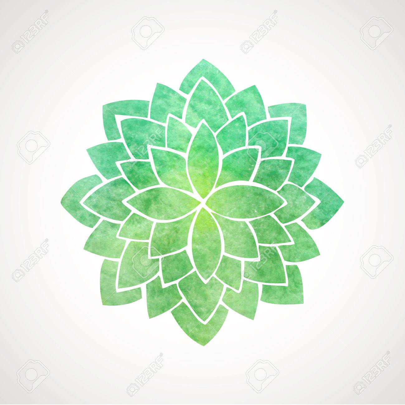 Watercolor Lotus Flower In Green Color. Symbol Of Oriental Indian ...