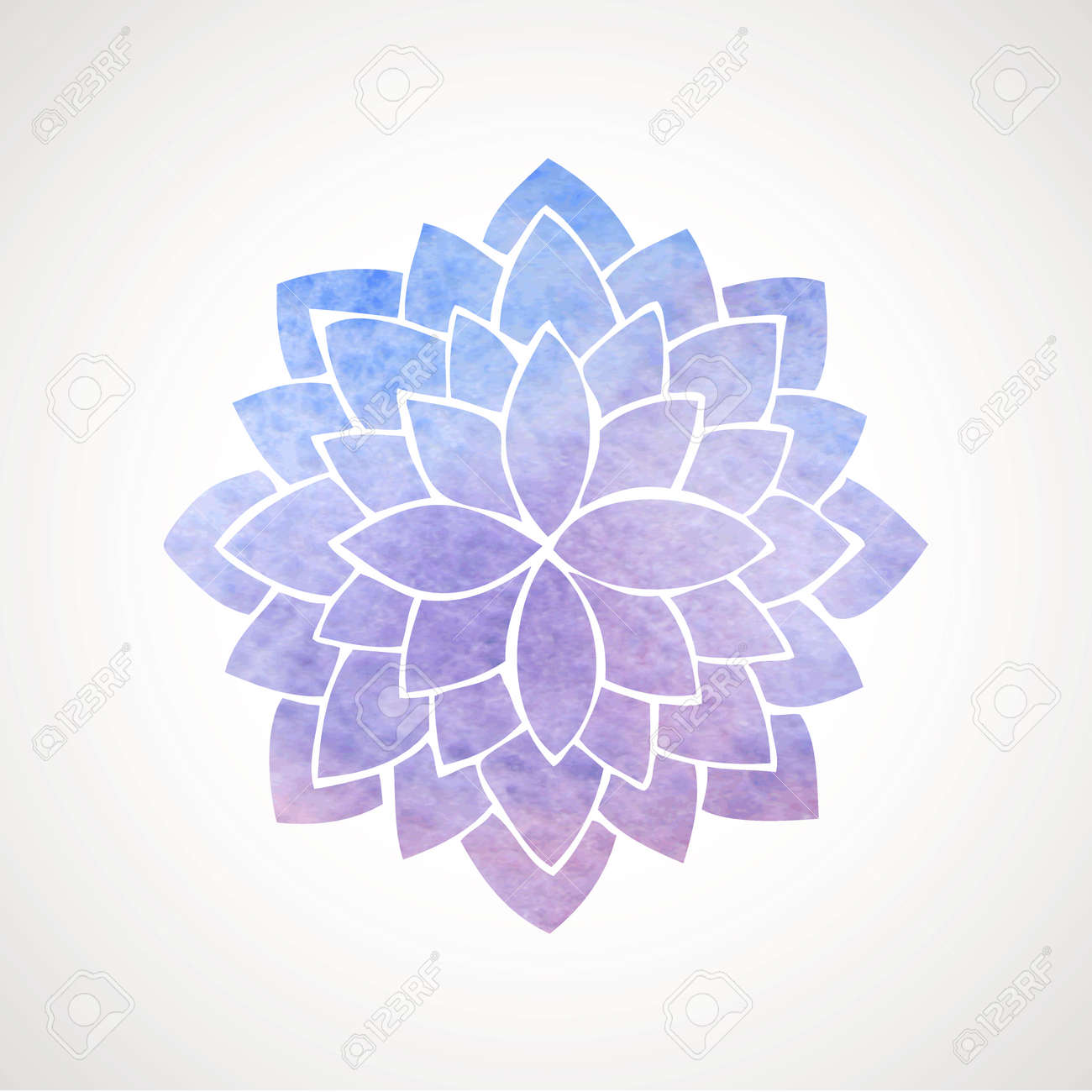 Watercolor lotus flower in blue and violet colors symbol of vector watercolor lotus flower in blue and violet colors symbol of india oriental practices yoga meditation vector decorative element logo template mightylinksfo Gallery