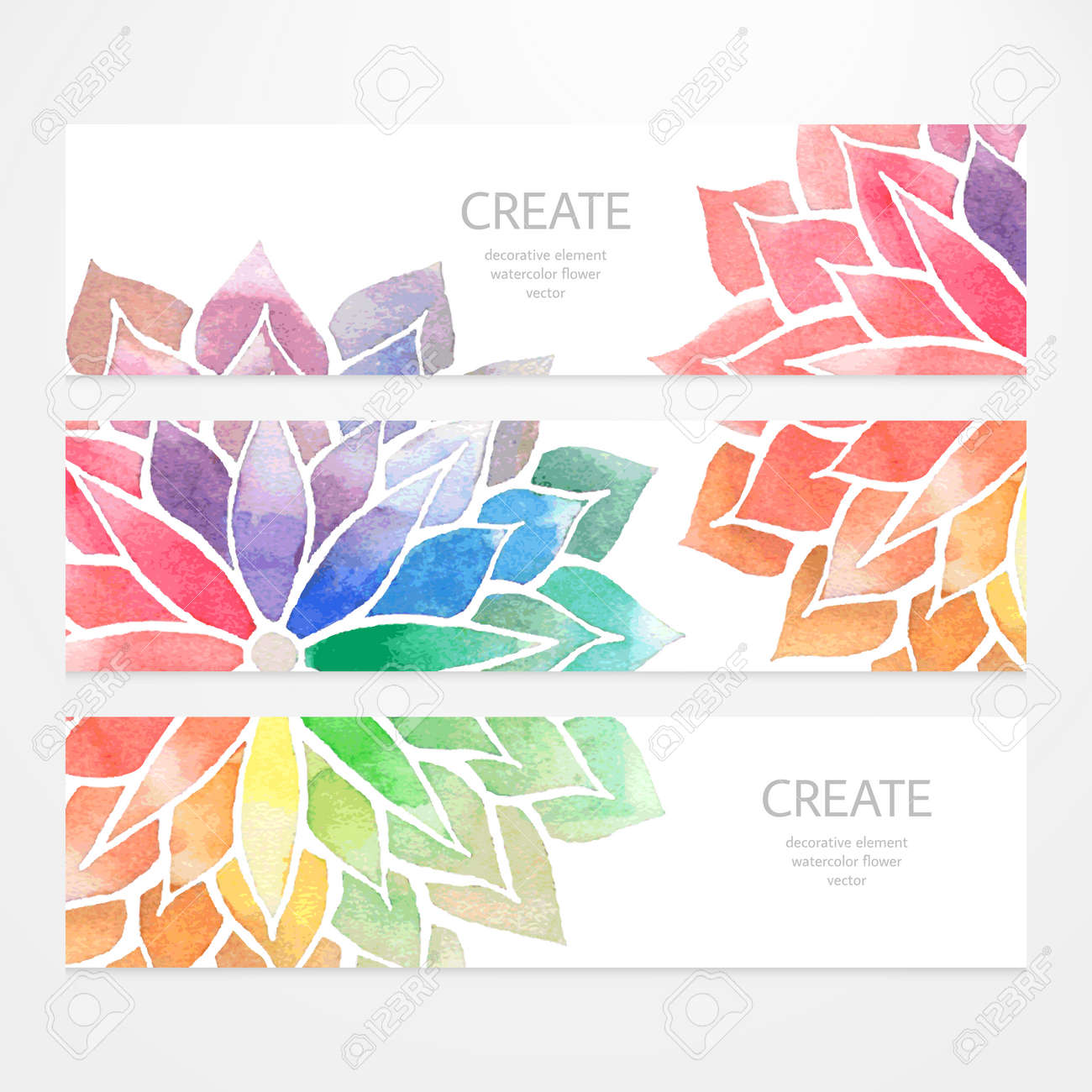 Colorful Banners, Flyers. Vector Templates Of Design With Watercolor ...