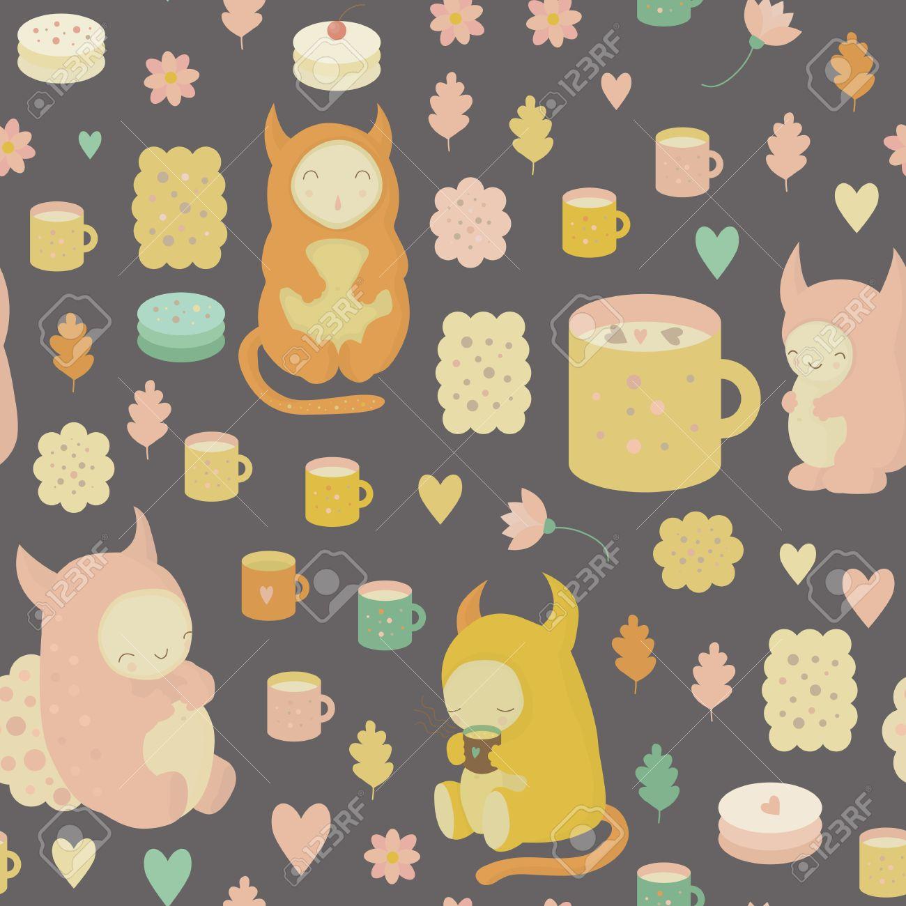 かわいいモンスター 紅茶 マグカップ クッキー ケーキ ココア ベクターの花と幼稚な夢のようなシームレスな背景 壁紙 テキスタイル ファブリック ウェブの背景のためのシームレスなパターンを使用できます のイラスト素材 ベクタ Image