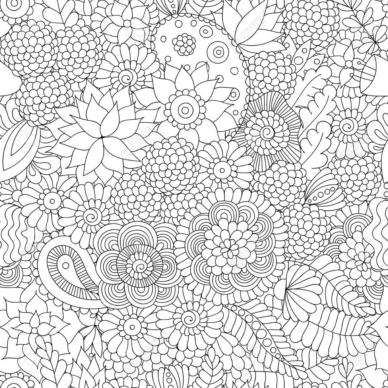 Doodle flower pattern black and white. - 47845946