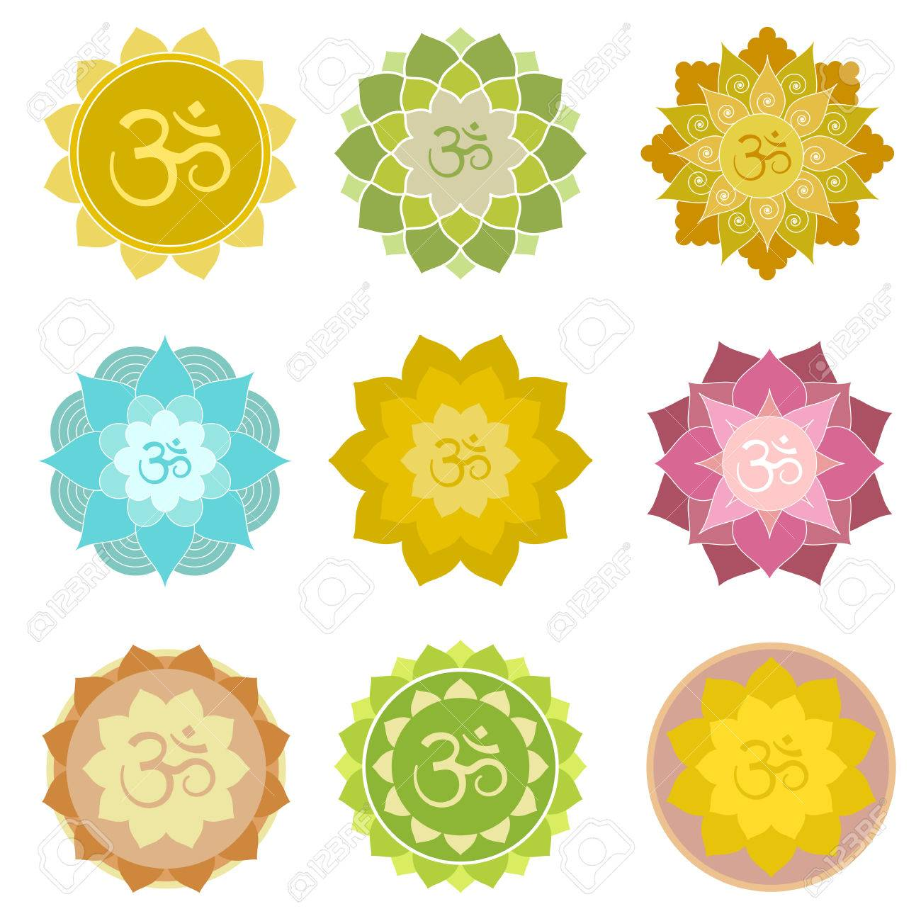 Set Of Om Symbols Isolated Perfect For Yoga And Meditation Practice