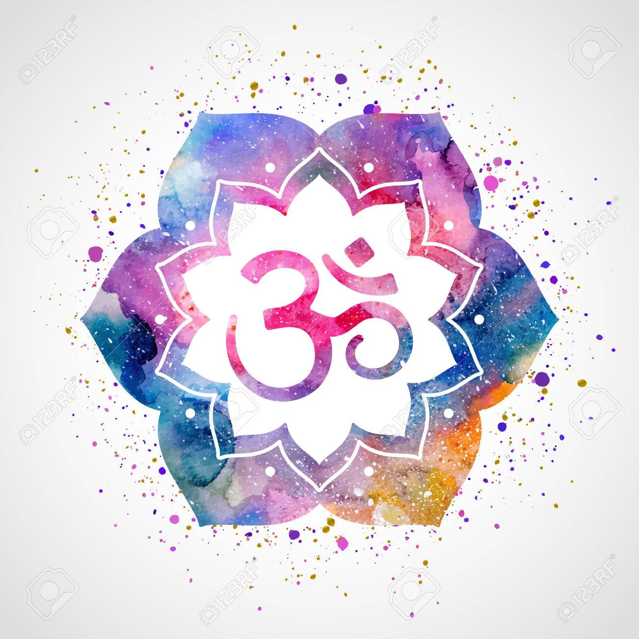 Om sign in lotus flower rainbow watercolor texture and splash om sign in lotus flower rainbow watercolor texture and splash vector isolated spiritual mightylinksfo