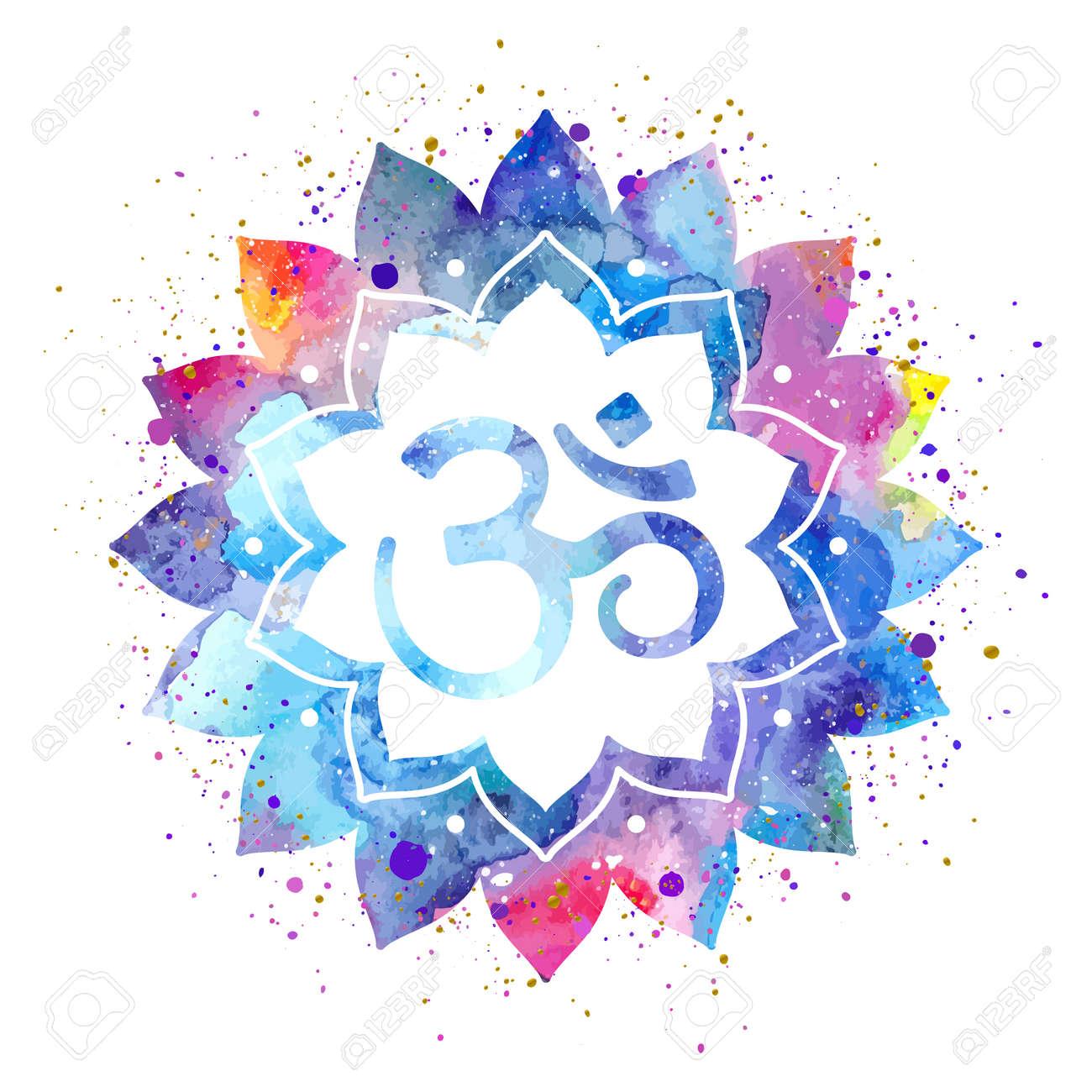 Om sign in lotus flower rainbow watercolor texture and splash spiritual buddhist hindu symbol om sign in lotus flower rainbow watercolor texture and splash vector isolated spiritual buycottarizona Gallery