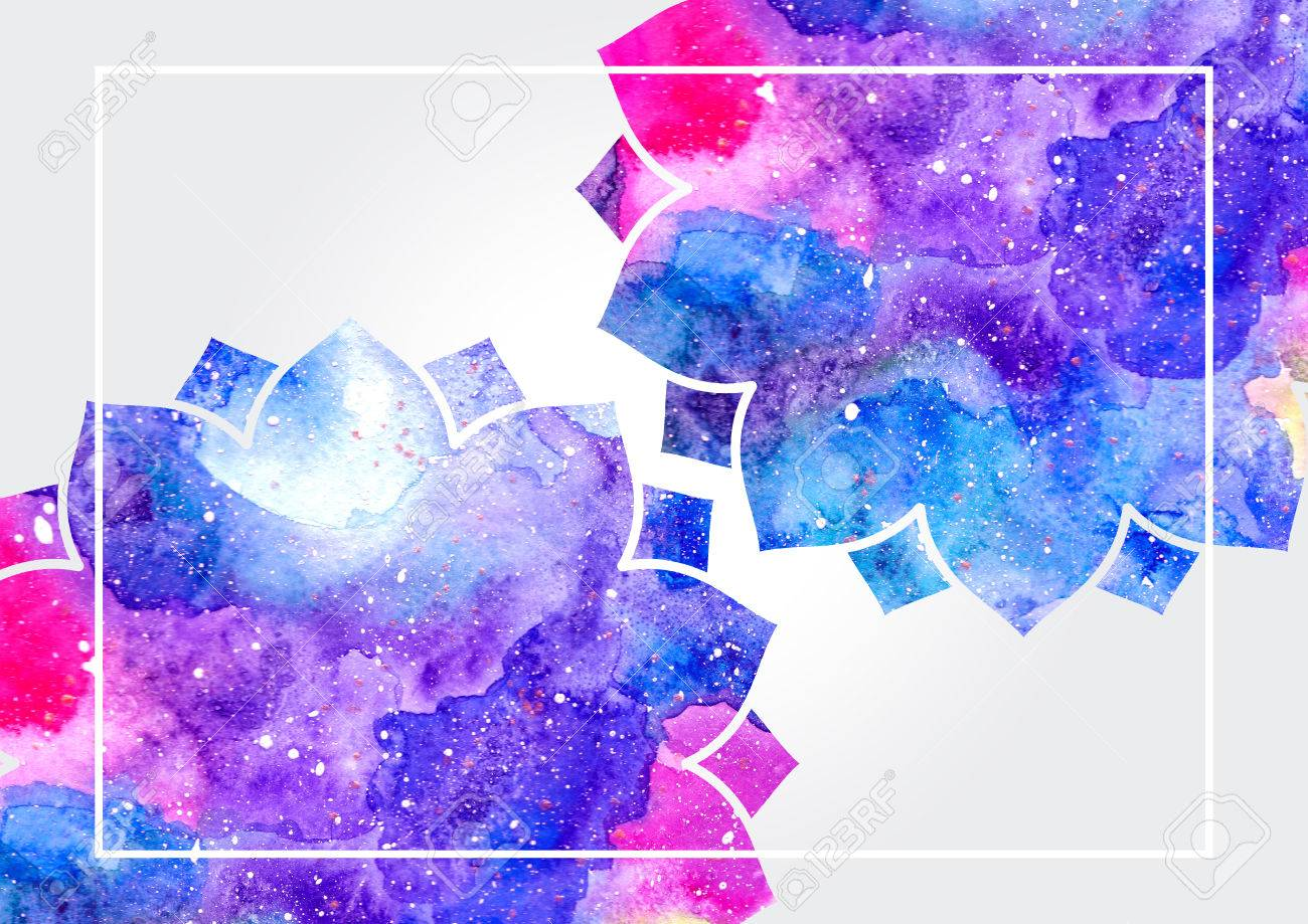 Watercolor blue purple and pink abstract flowers and white stock stock photo watercolor blue purple and pink abstract flowers and white frame fairytale colorful background mightylinksfo