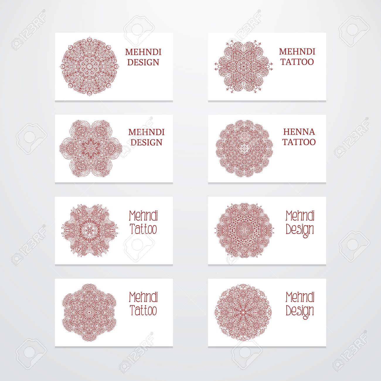 Set of business card templates vintage decorative round patterns illustration set of business card templates vintage decorative round patterns indian arabic ornaments mandala mehndi henna tattoo design flashek Gallery