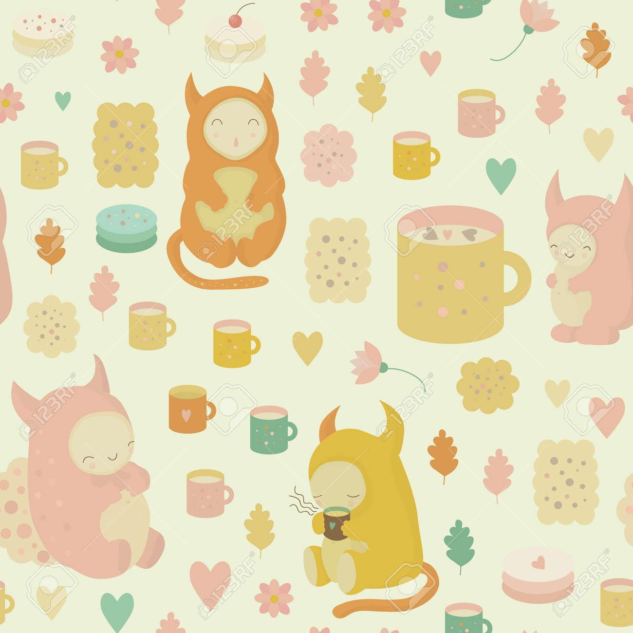 かわいいモンスター 紅茶 マグカップ クッキー ケーキ ココア 花
