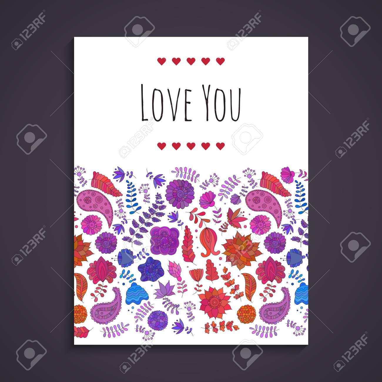 Doodle Plantilla De Tarjeta De Felicitación Para El Diseño De Invitaciones Para Cumpleaños Guarde La Fecha El Día De San Valentín Doodle Coloridas