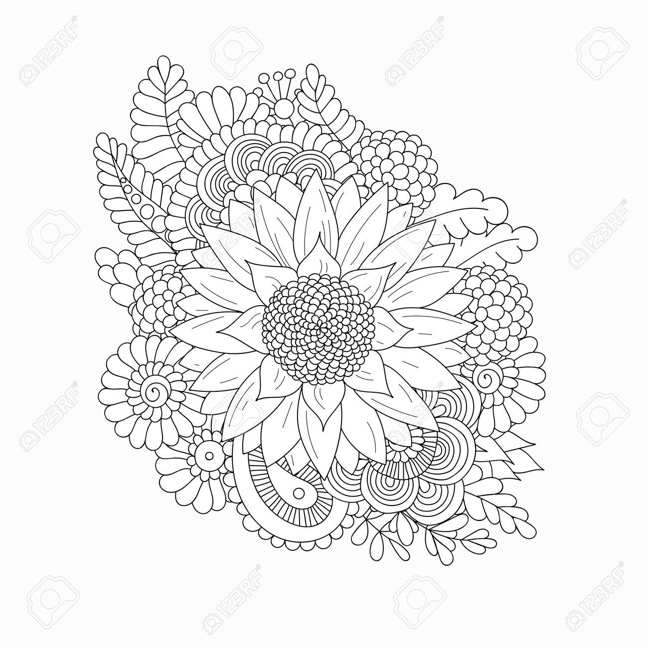 Sunflower Isolated On White Background. Black And White Doodle ...