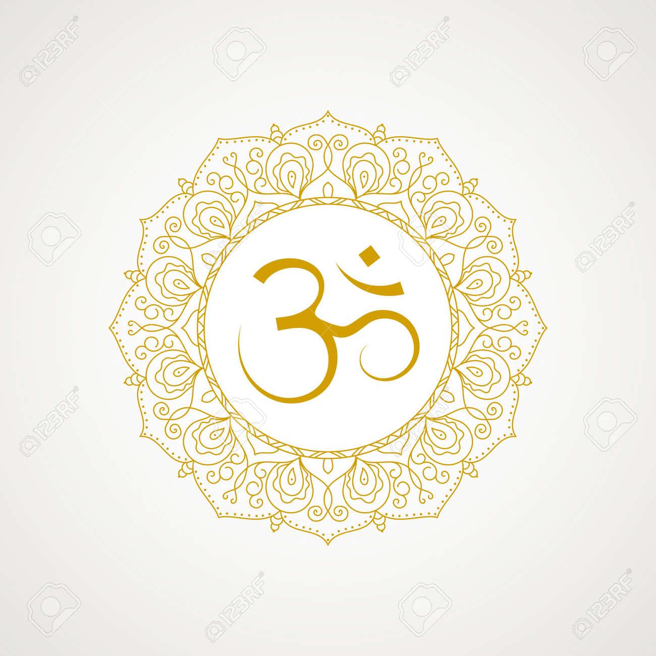Golden om symbol  Gold lace frame  isolated on white background